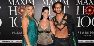 Yolandi Franken, Gabrielle Keaton and Tom Gay at the Maxim Hot 100 Party