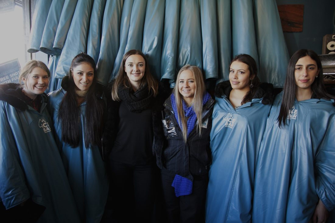 Models with Ice Bar Staff
