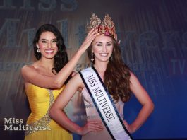 Corrin Stellakis winner of Miss Multiverse 2017 and Siria Bojorquez Miss Multiverse 2016